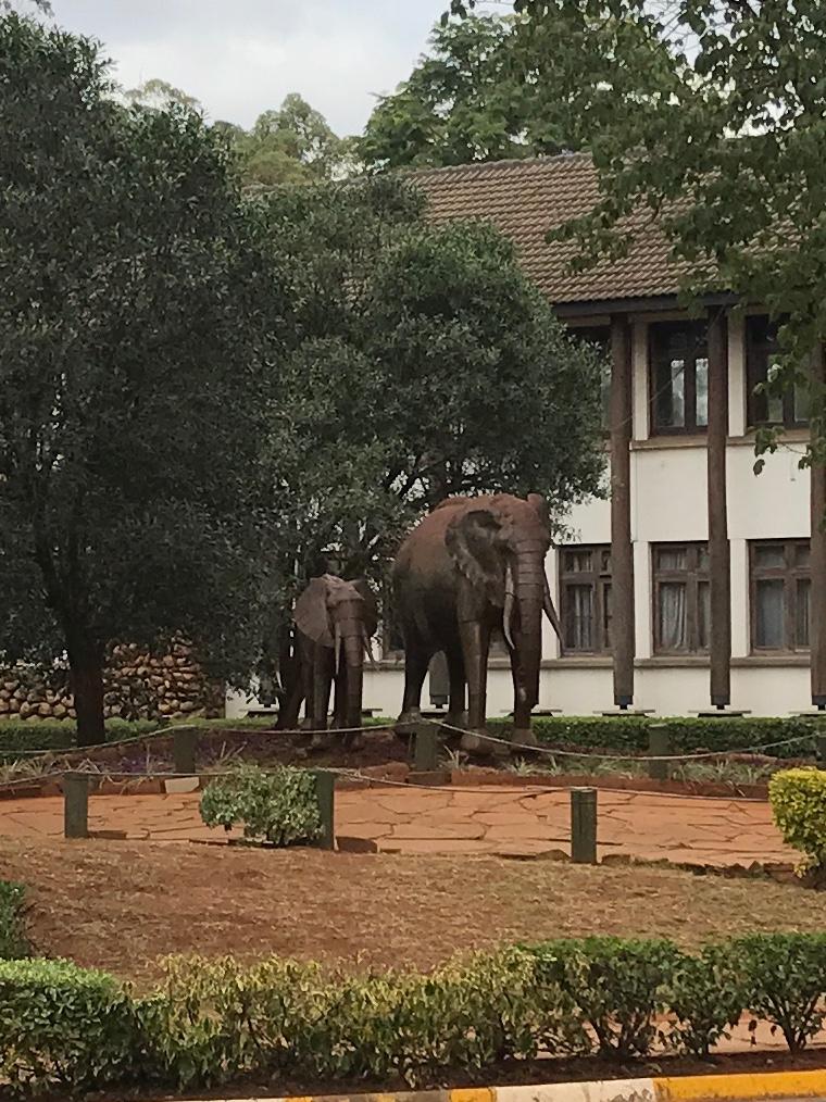 Elephant sculptures outside the Safari Walk