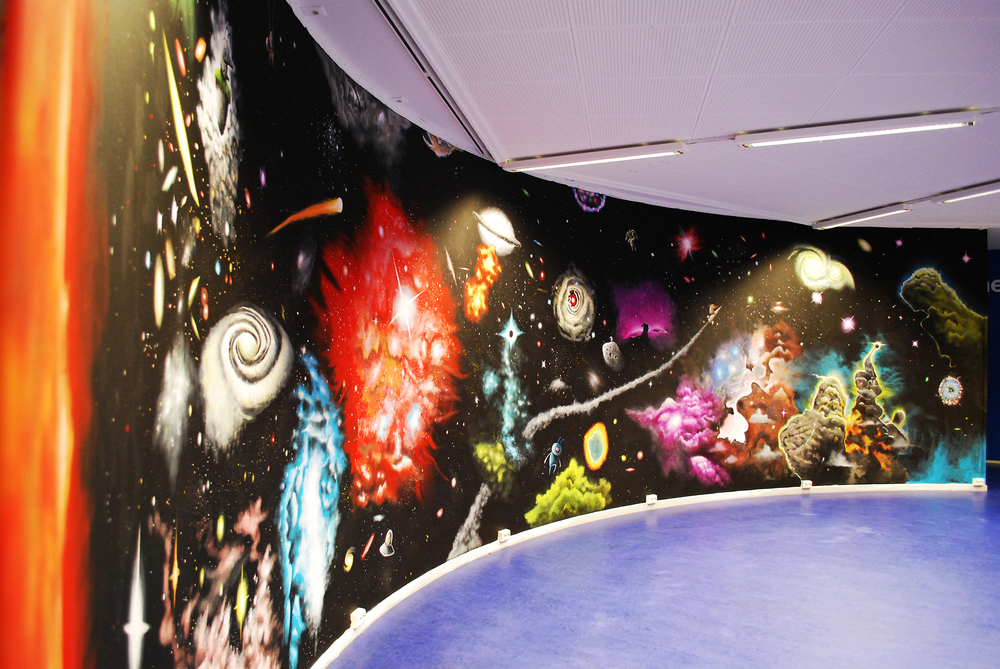 3mx12m mural- i was commissioned to paint this mural at a science center in Norway