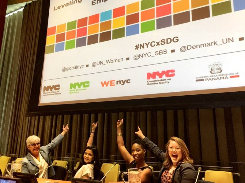 ELLIE KASSNER AND FELLOW WENYC MENTORS MALENE BARNETT, DEEPTI SHARMA AND CHRISTINE RICO AT THE UNITED NATIONS IN NEW YORK CITY CONTRIBUTING TO  LEVELING THE PAYING FIELD  A PANEL DISCUSSION HOSTED BY THE COUNTRIES OF DENMARK AND PANAMA.