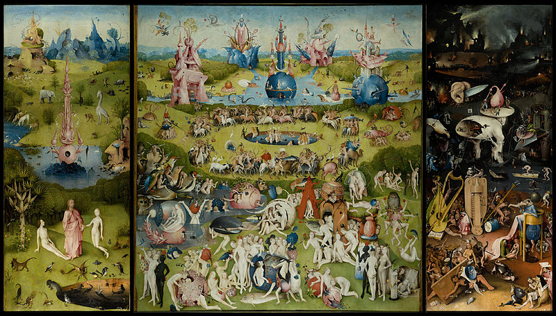 The Garden of Earthly Delights by Hieronymus Bosch circa 1490: The Garden of Eden has a beautiful lawn.