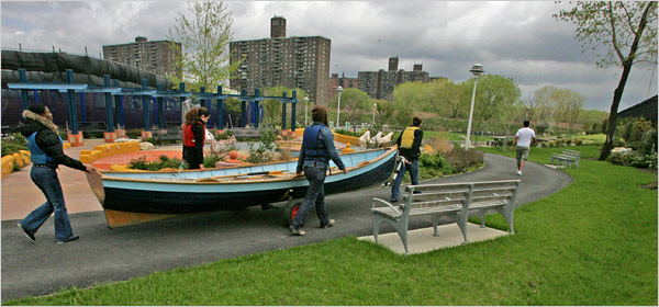 That same abandoned lot in 2007, now a the beautiful Hunts Point Riverside Park (source)