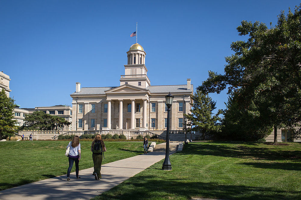 The iconic Old Iowa State Capitol Building sits at the center of the University of Iowa campus  By Vkulikov CC BY-SA 3.0, via Wikimedia Commons