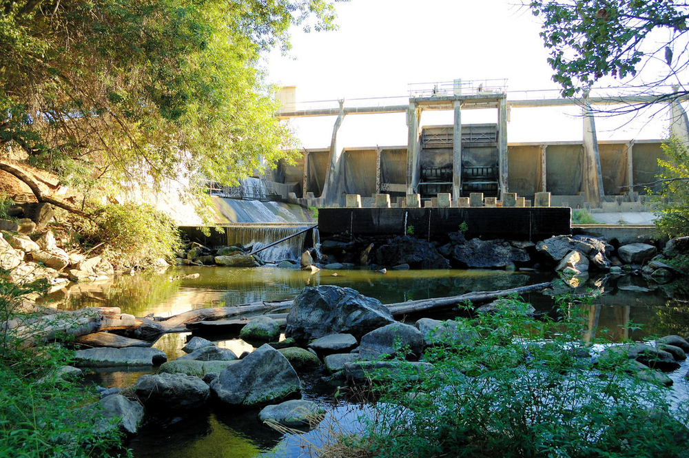"A dam towers over Los Gatos Creek, obstructing fish migration. (""Los Gatos Creek below Vasona Lake Dam, by Don DeBold CC 2.0)"
