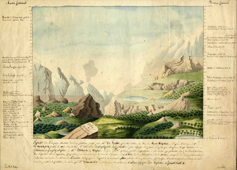 Humboldt often worked with his friend, Goethe, the famous German poet, statesman and scientist. Here they collaborated on Goethe's observations of alpine plants ( source )