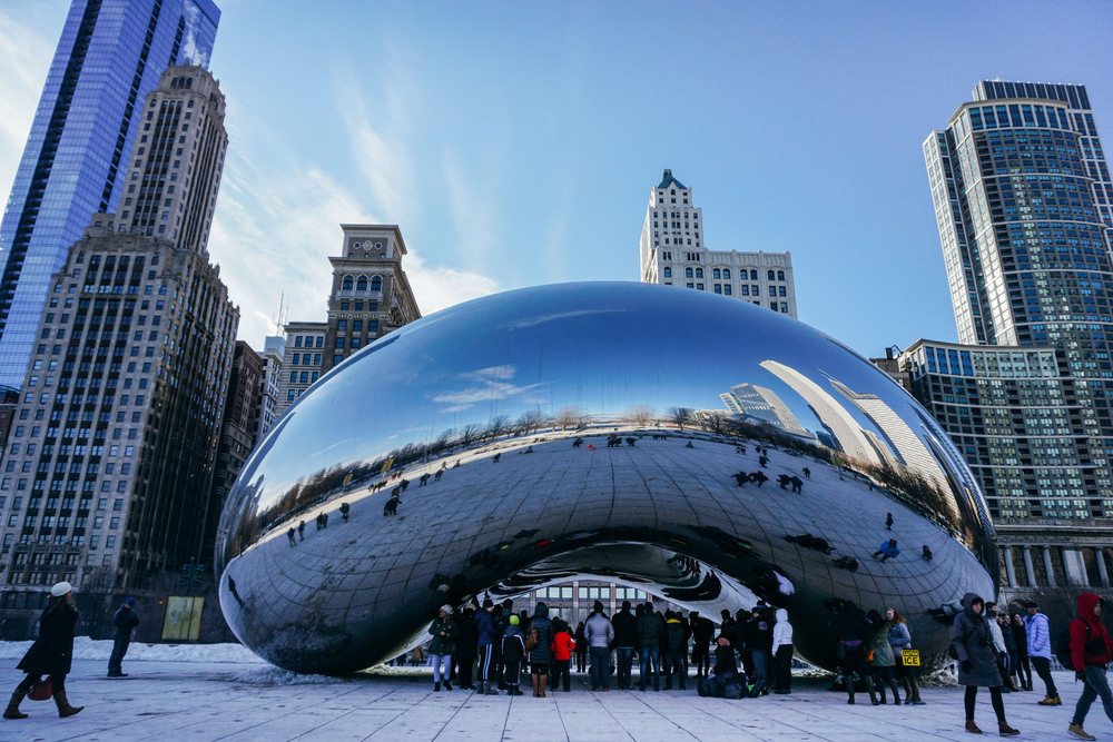 Cloud Gate, Chicago (the bean) in Millennium Park. United States of America.