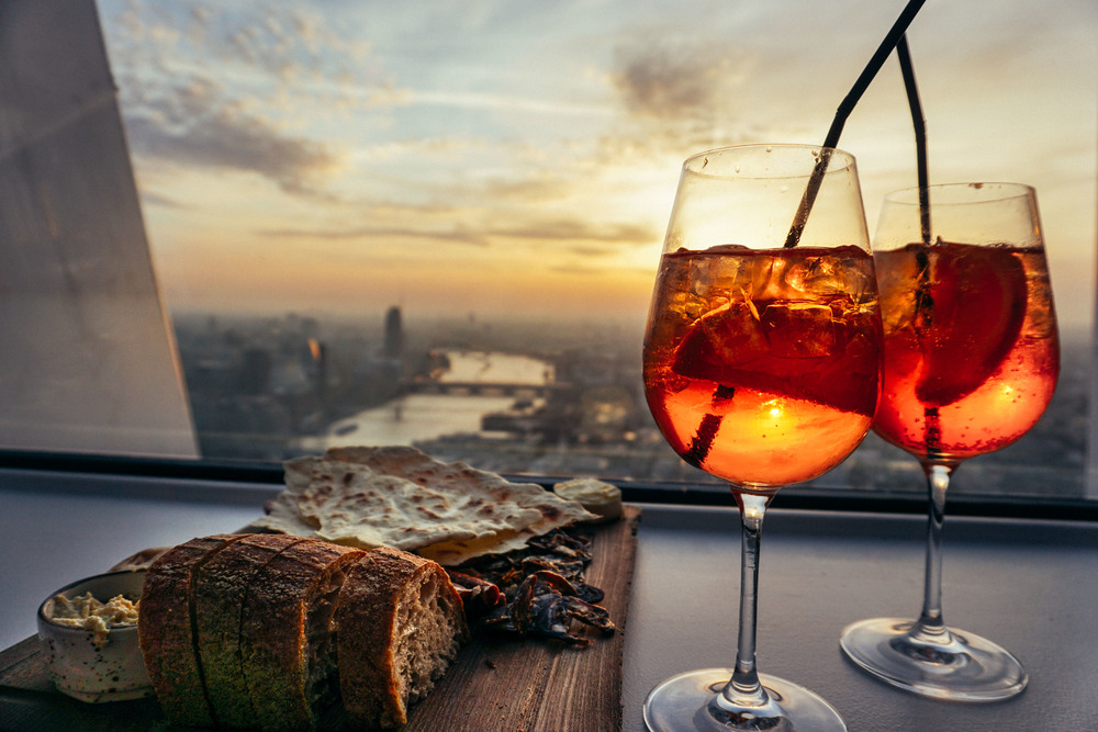 After work aperitivo at Sky Gardens at 20 Fenchurch Street.