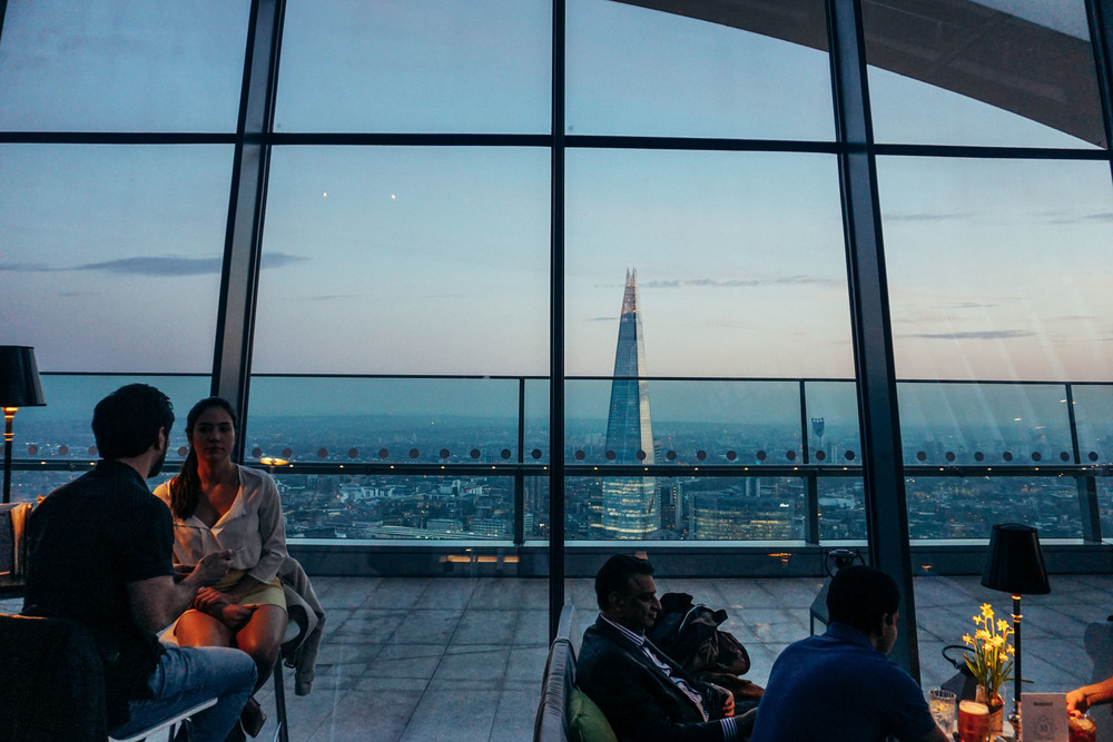View of the shard from Sky Gardens at 20 Fenchurch Street