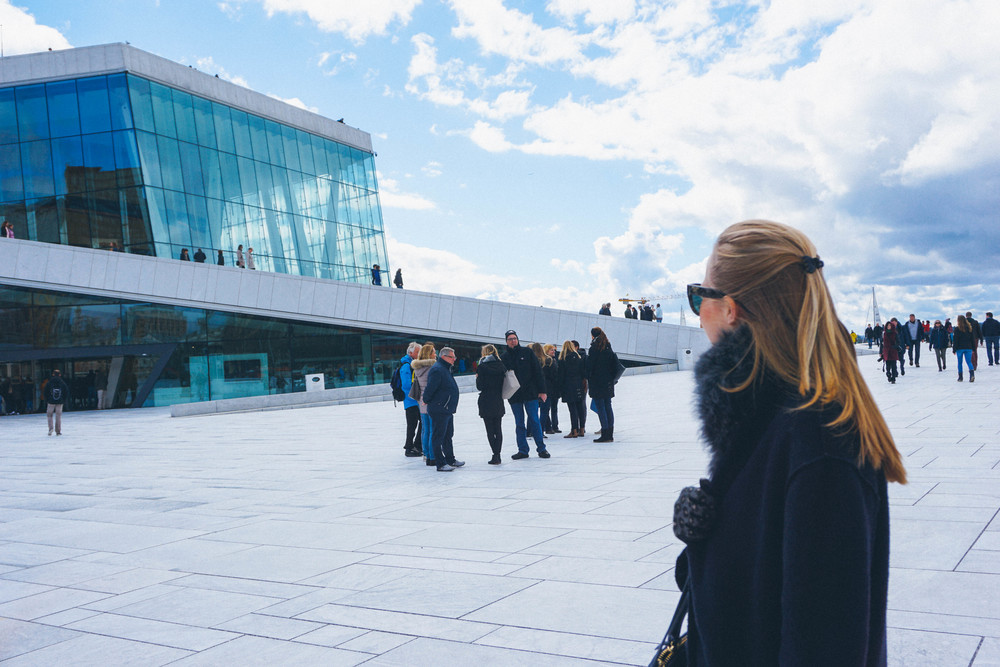 Maria exploring the Oslo Opera House
