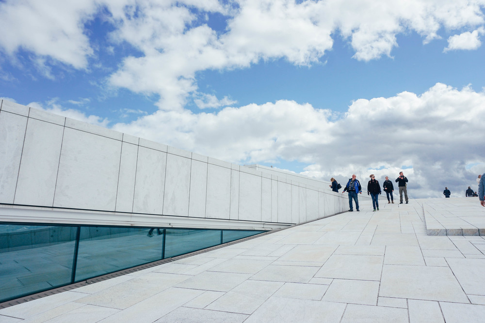 Walk along the building and roof of the ultra modern Oslo Opera House.