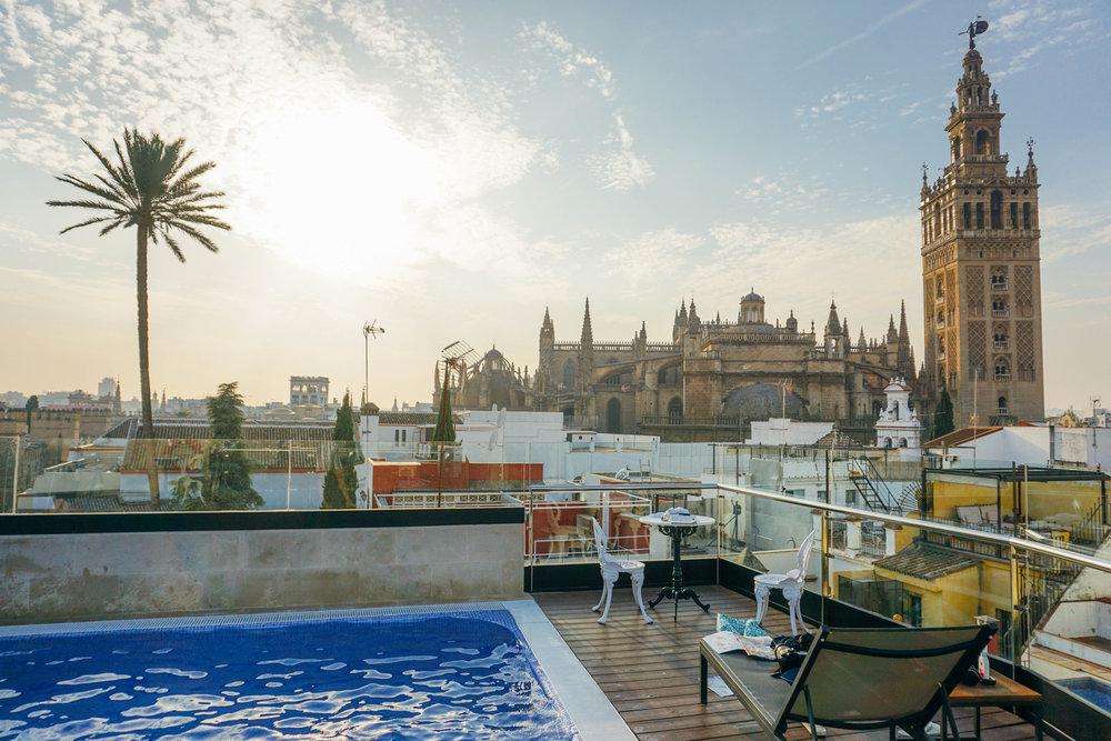 Hotel Casa 1800. Rooftops in Seville Spain.