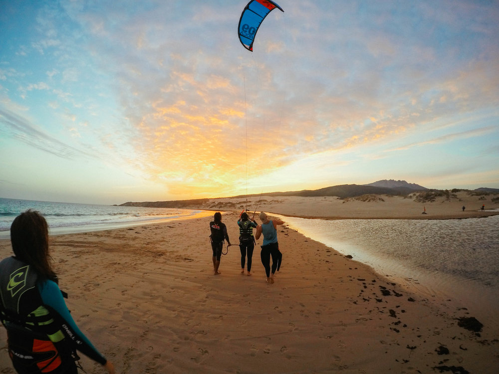 Kitesurfing Tarifa, Spain. GoPro Sunset.
