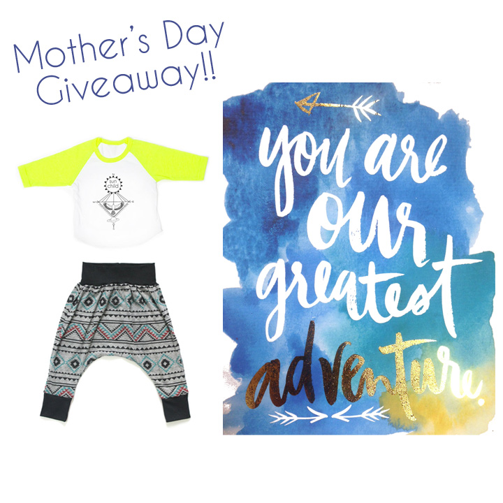 I am sooooo excited to announce my Mothers' Day Giveaway starting today and lasting through the weekend. You can win this sweet sweet spread. You get my toddler or baby Sunchild raglan, a pair of baby or kid harem pants by Brown Sugar Beach, and an 8x10 print by Dance Party Prints. The value is $90. Go over to my instagram and get in the running @mothersun_lovechild. AND HAPPY EARLY MAMAS' DAY TO ALL YOU BADASS MAMAS