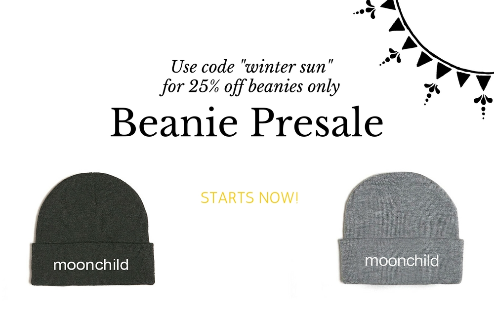"""My beanie presale starts now! Until Cyber Monday, you can get 25% off all beanies for mamas and babies. Use code """"winter sun"""" throughtout November for your discount. I have been making these beanies for years, and this year they are extra special because the print is now embroidered. They look so good! And most importantly, they are so comfy and warm. You can shop adult beanies here and baby sizes here."""