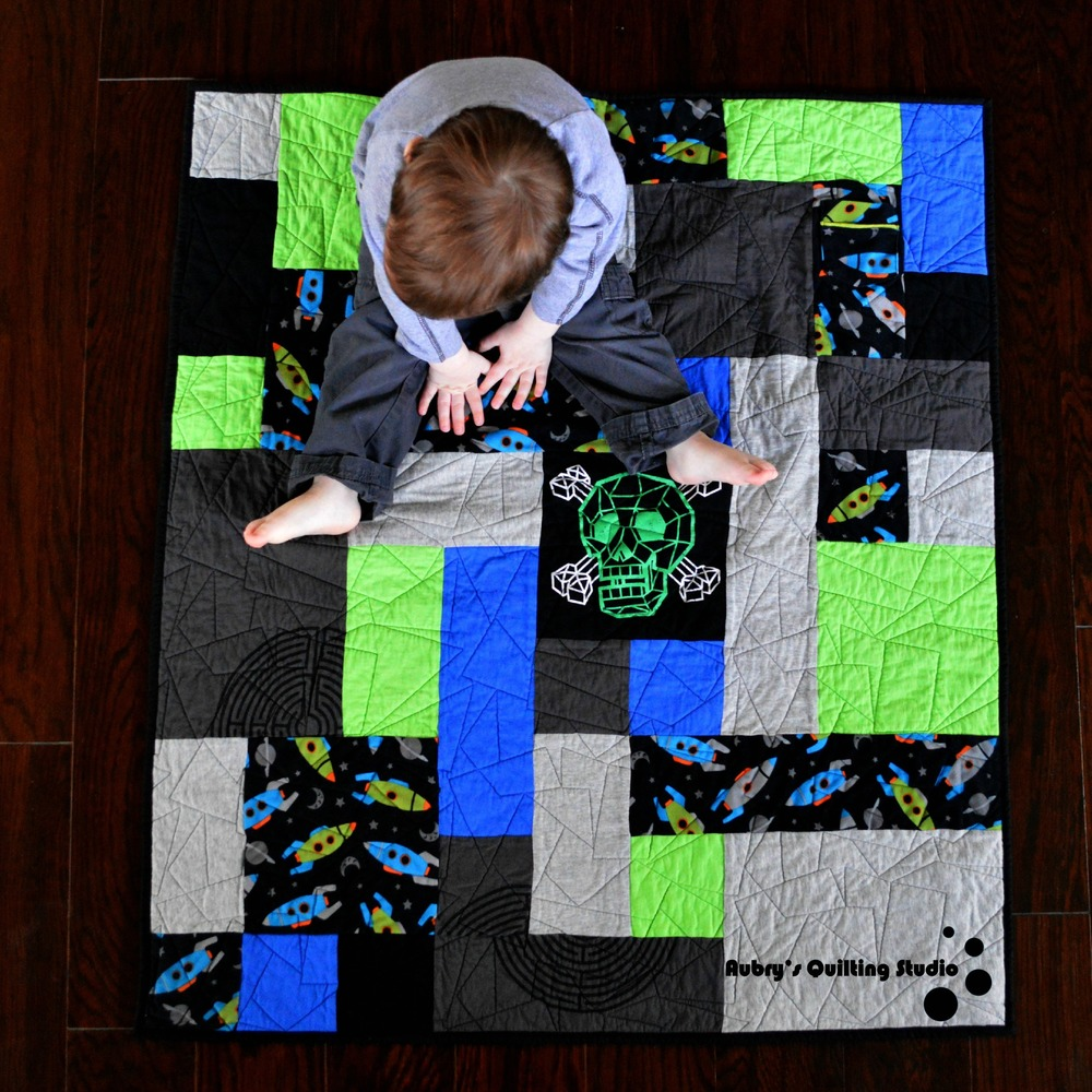 Skull and Rockets Memory Quilt | Aubry's Quilting Studio