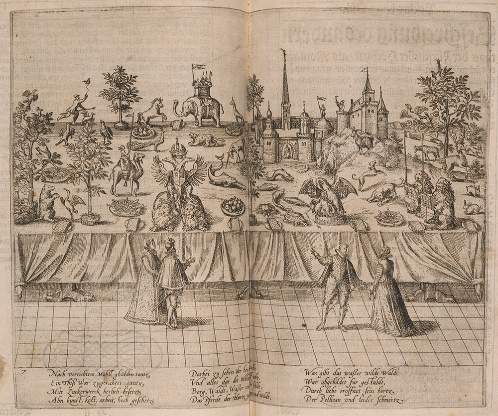 Table with sugar figures for the marriage of Duke of Jülich, 1587.