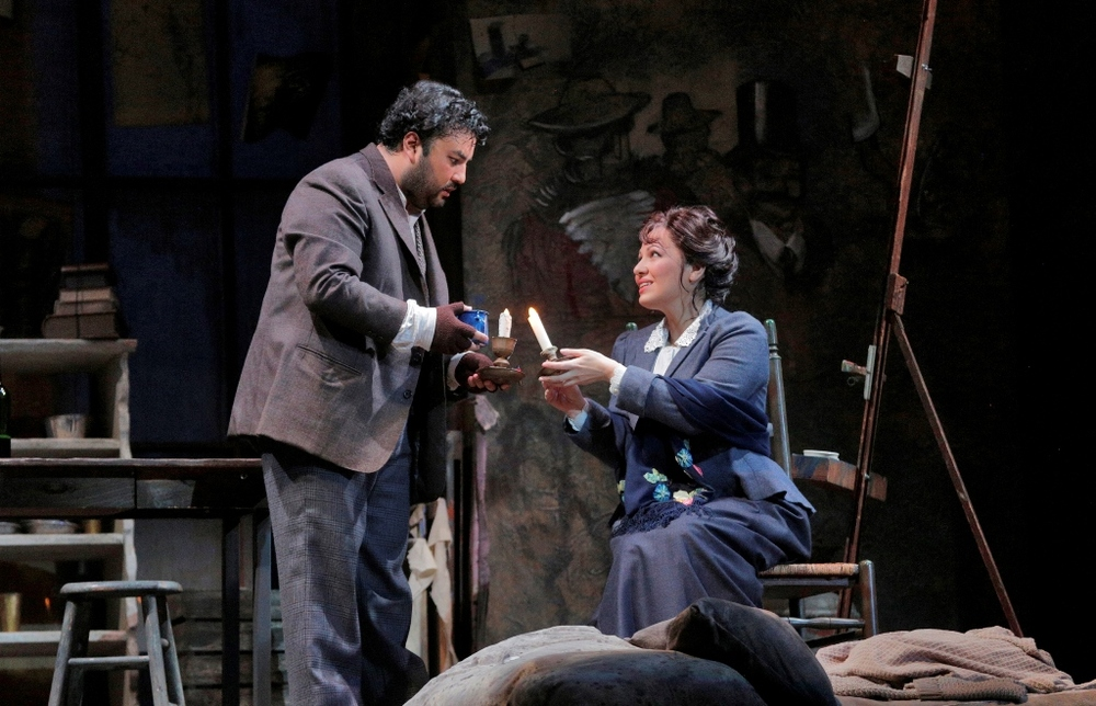 Mario Chang as Rodolfo, Nino Machaidze as Mimi, Act I