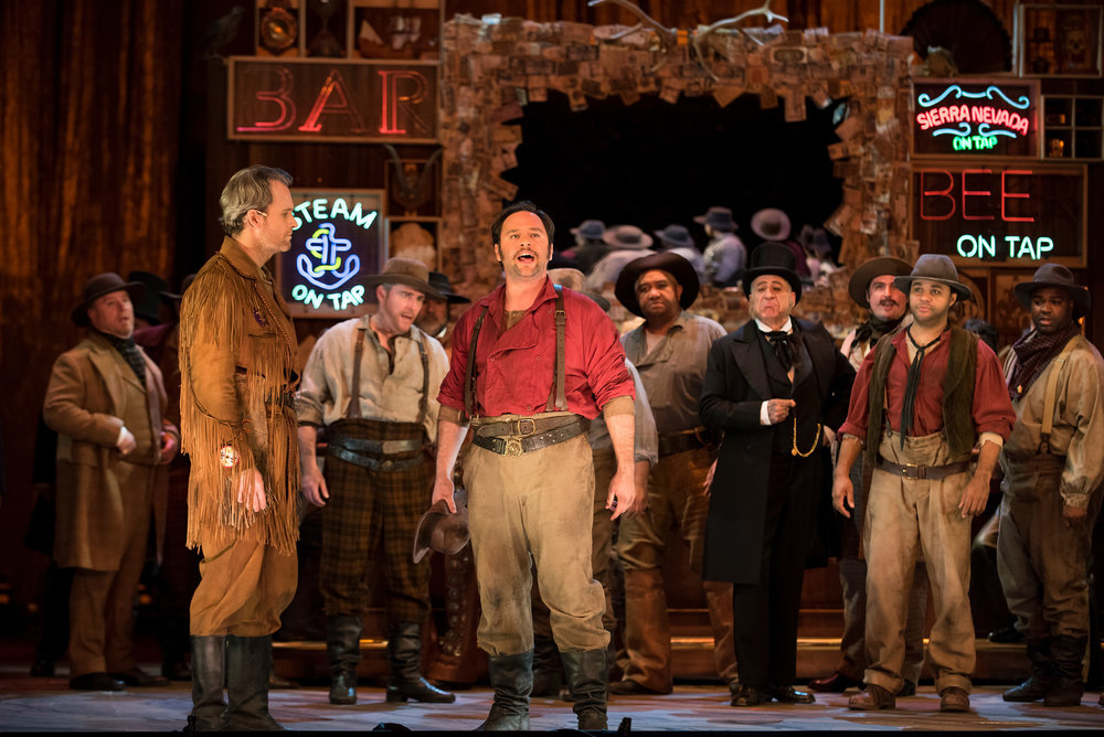 Ryan McKinny as Clarence and Paul Appleby as Joe Cannon with the San Francisco Opera Chorus.  Photo: Stefan Cohen
