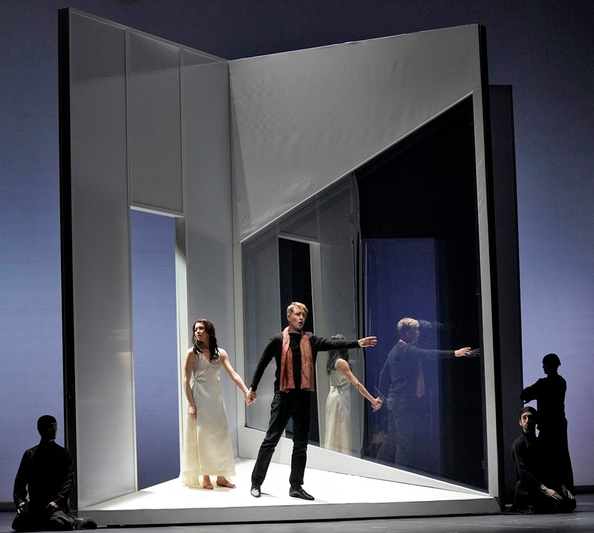 Lisette Oropesa as Eurydice and Maxim Mironov as Orpheus, with dancers from the Joffrey Ballet