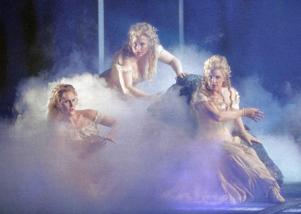 "Lauren McNeese as Wellgunde, Renée Tatum as Flosshilde, and Stacey Tappan as Woglinde in Wagner's ""Das Rheingold."""