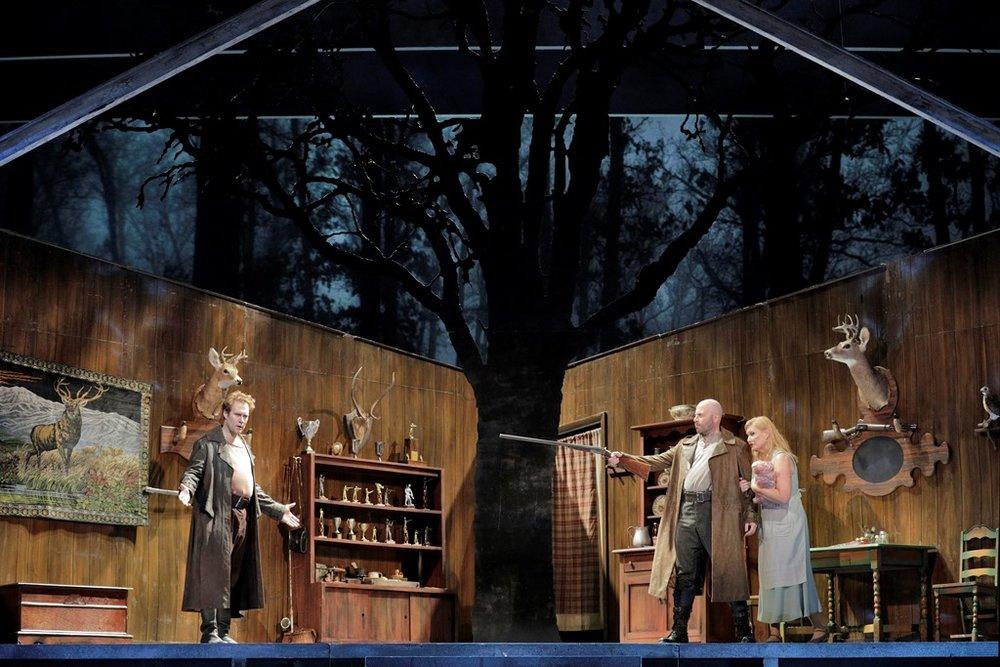 Brandon Jovanovich as Siegmund, Raymond Aceto as Hunding and Karita Mattila as Sieglinde