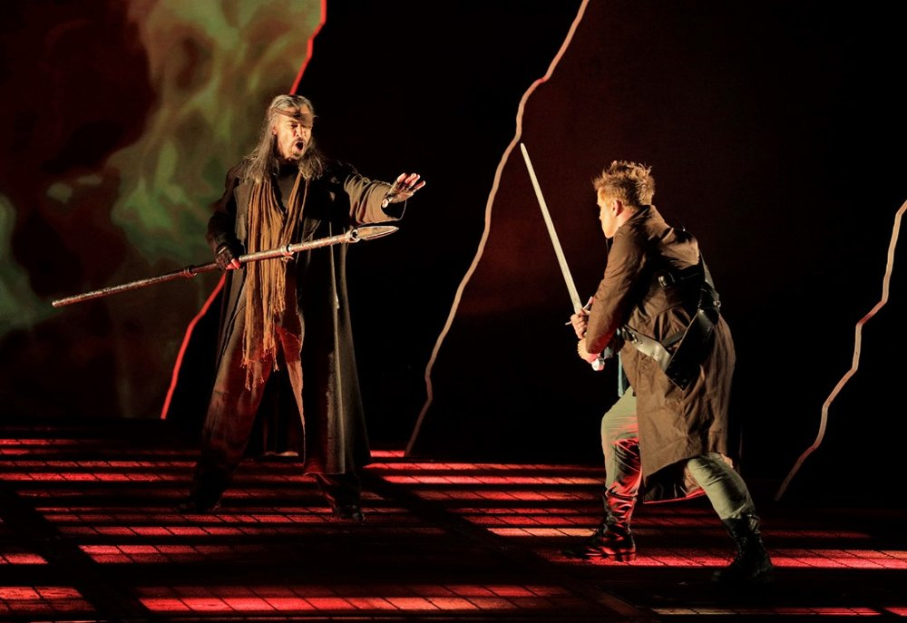 Greer Grimsley as Wotan and Daniel Brenna as Siegfried