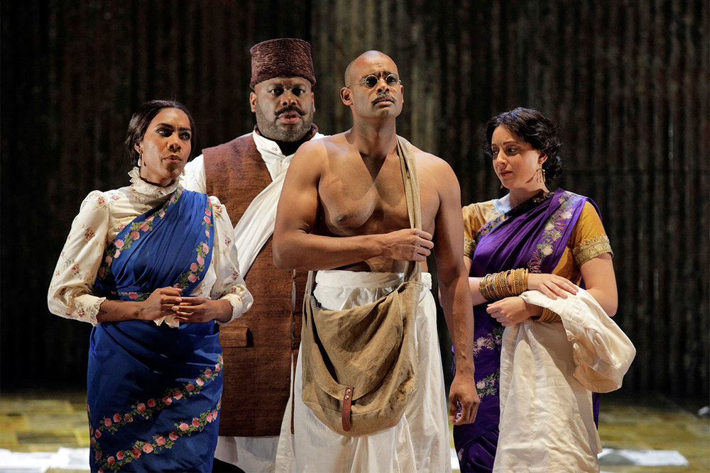 J'Nai Bridges as Kasturbai, Morris Robinson as Parsi Rustomji, Sean Panikkar as Gandhi and Erica Petrocelli as Mrs. Naidoo