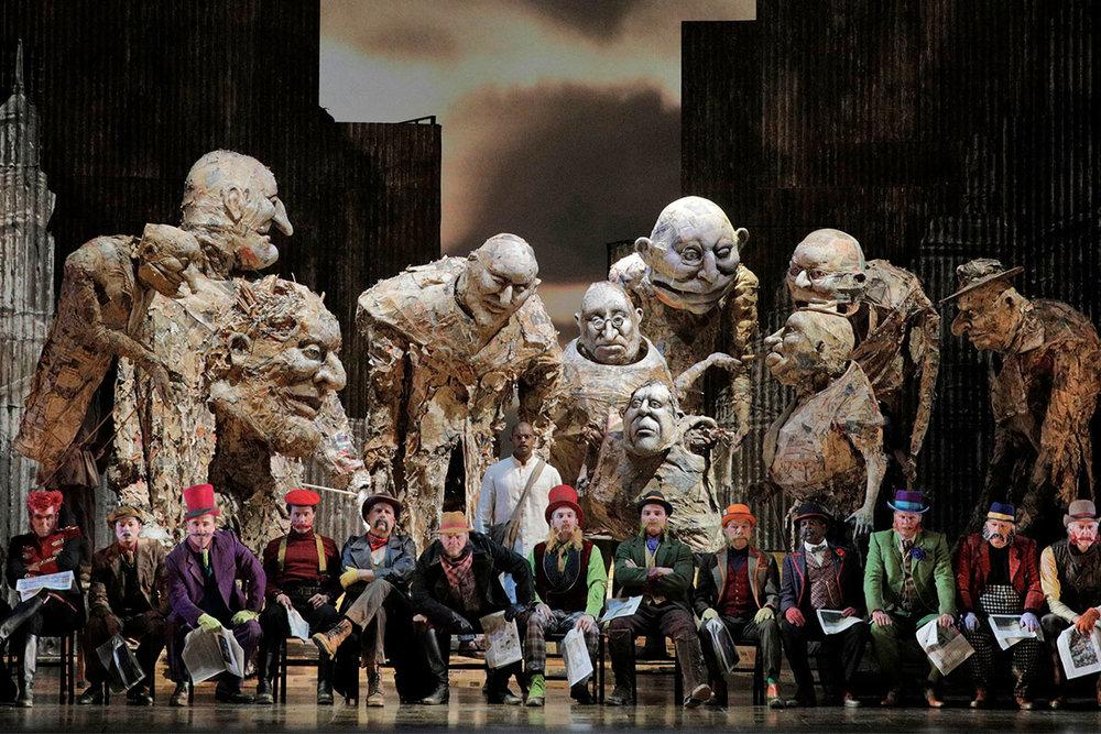 Sean Panikkar (center, in white) as Gandhi with the men of the LA Opera Chorus