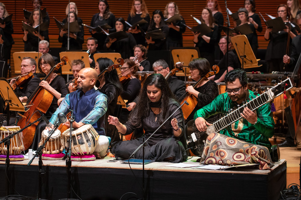 Robin Sukhadia (tabla), Saili Oak, and Rajib Karmakar (sitar) performing Reena Esmail's This Love Between Us: Prayers for Unity