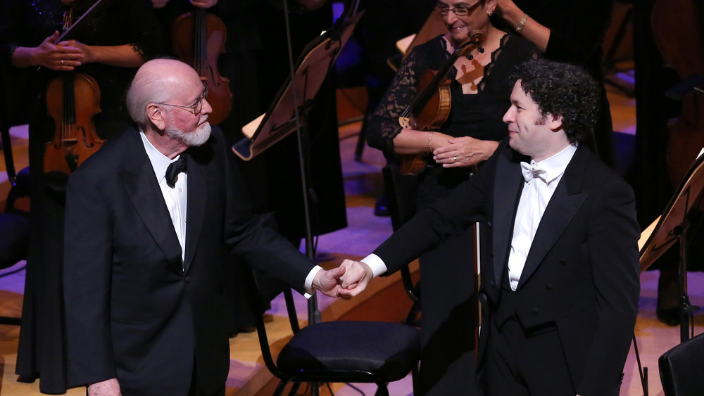 John Williams and Gustavo Dudamel in 2015 LA Phil Gala Concert / Photo credit: PBS