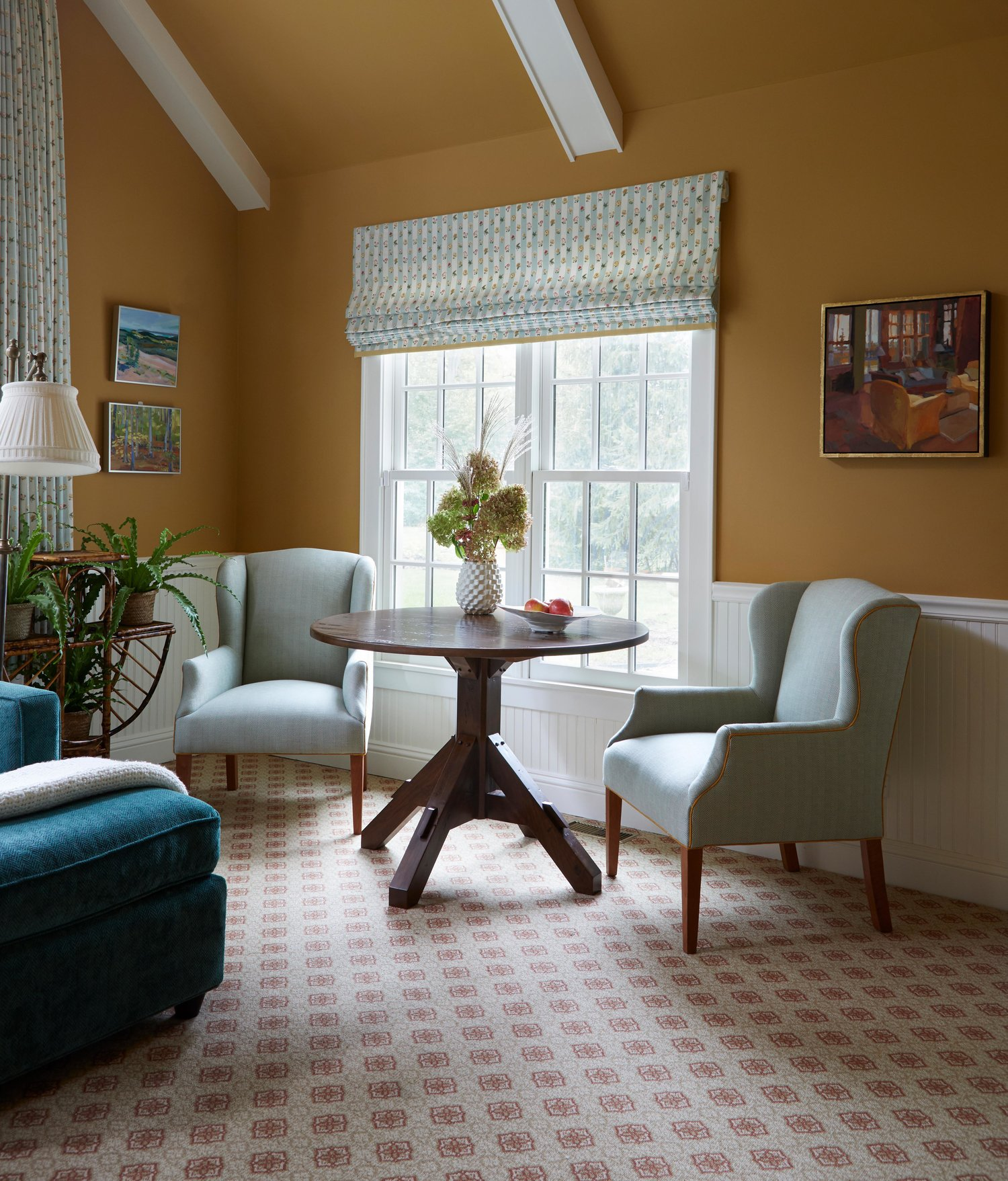 Wing chairs in a cozy family room.  Come see more interior design inspiration from Elizabeth Drake. Photo by Werner Straube. #interiordesign #classicdesign #traditionaldecor #housetour #elizabethdrake