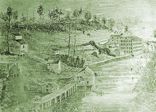 An image of the original Roswell Cotton Mill, located on the same land that Vickery Creek Park occupies today.