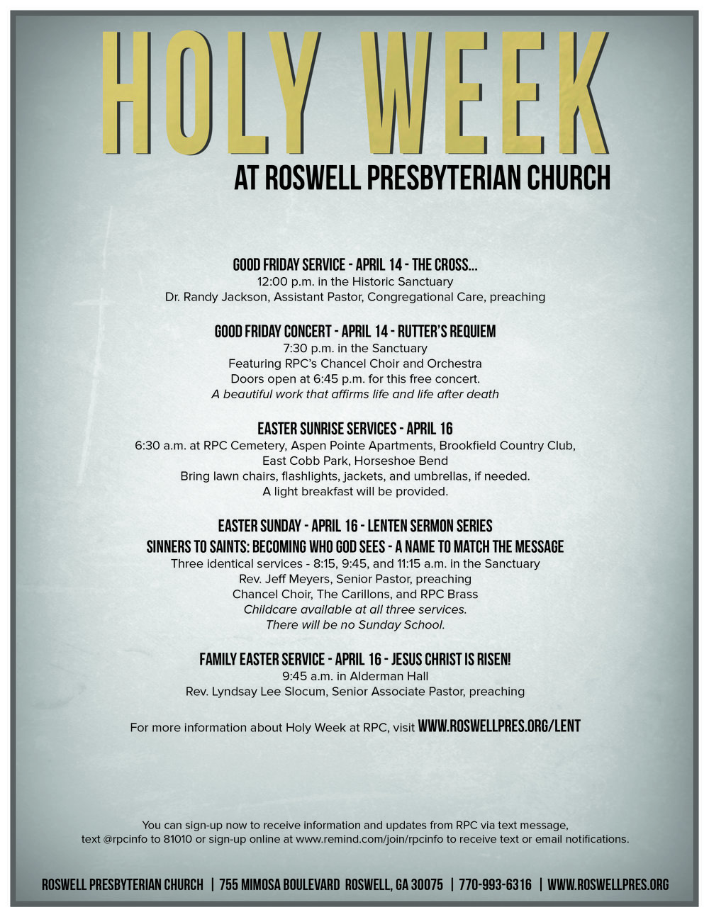 lent roswell presbyterian church alternate parking areas available for easter sunday