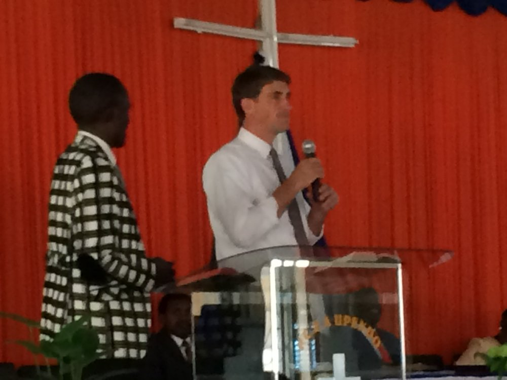 Rev. Jeff preaching with his translator, the evangelist Anthony.