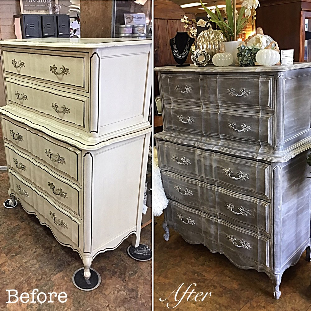 Grey Shabby Chic French Provincial Dresser. Grey Dresser Before After.JPG
