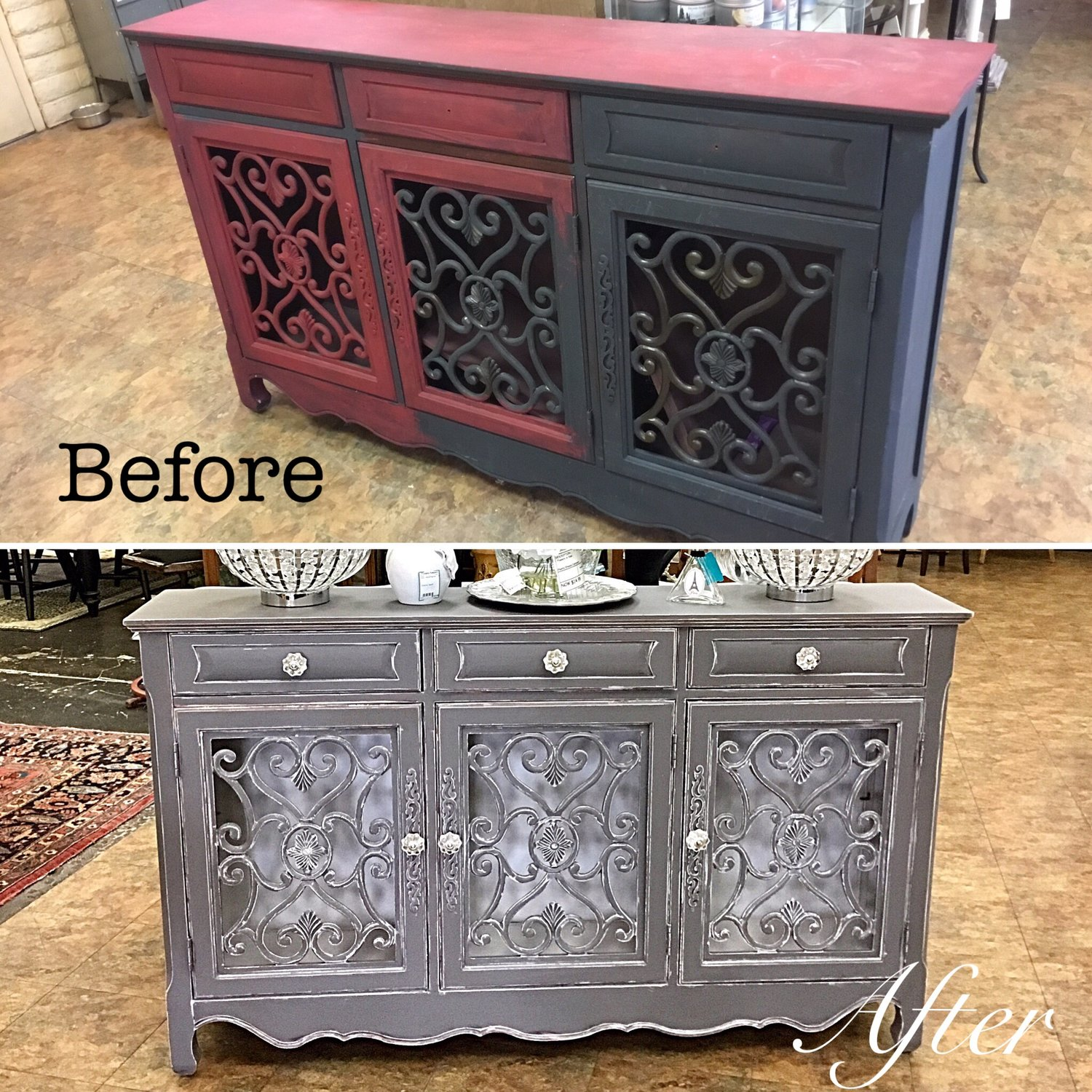 SOLD Grey Shabby Chic Buffet (Before & After) — Finders Keepers