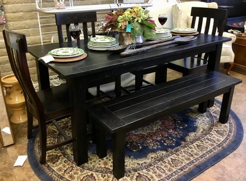 World Market Expanding Dining Table W Bench 4 Chairs