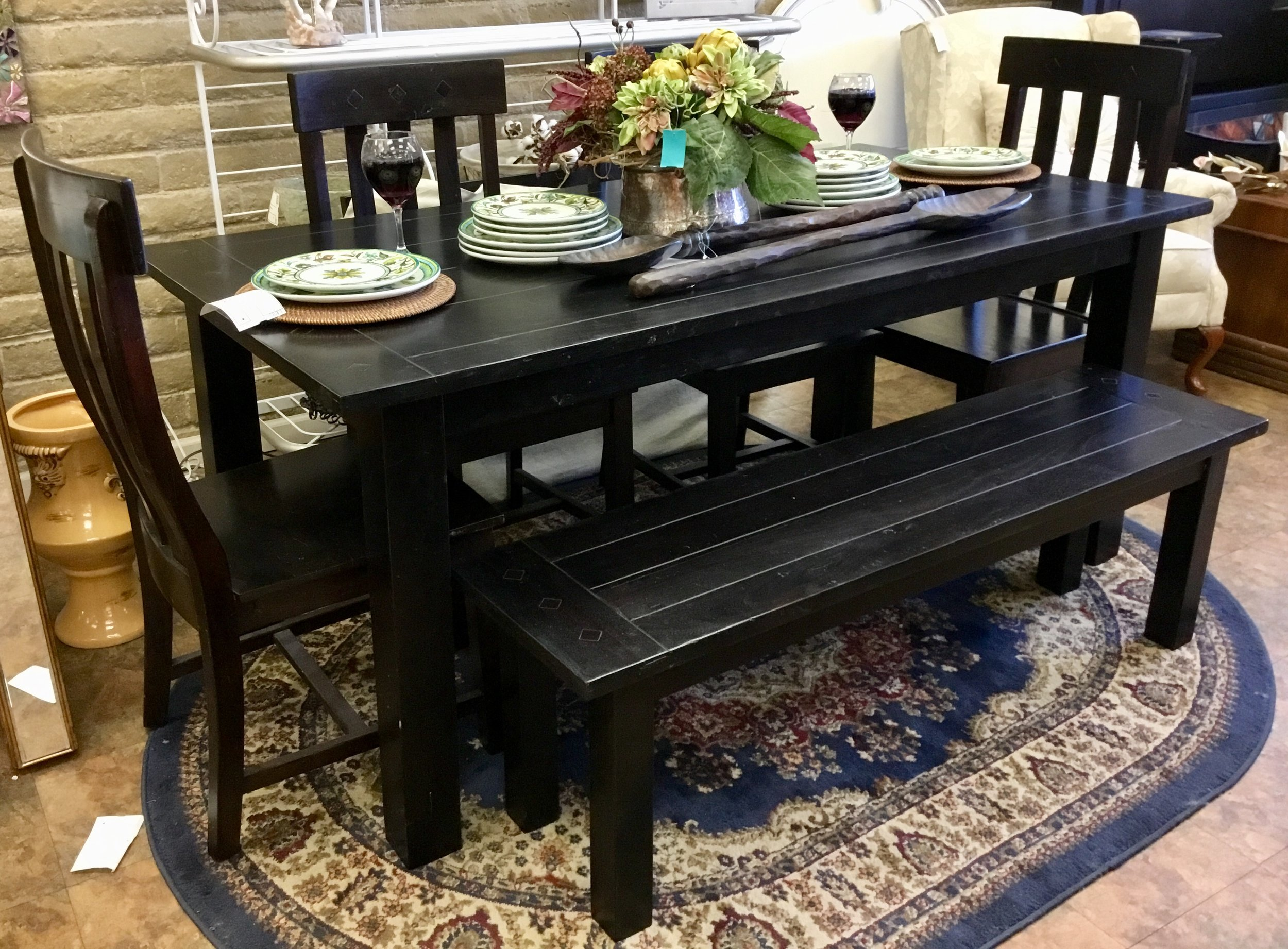 World Market Expanding Dining Table w/ Bench & 4 Chairs — Finders Keepers