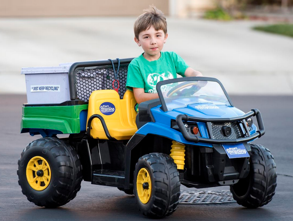 Ryan Hickman, 7, who started his own recycling business, Ryan's Recycling Company, drives his electric powered trash truck he received from Ellen DeGeneres through his neighborhood to collect recyclables in San Juan Capistrano, CA on Tuesday, February 28, 2017. (Photo by Leonard Ortiz, Orange County Register/SCNG)