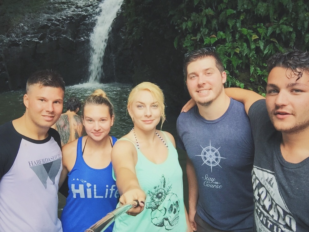 After we had jumped off the falls. It was a freshwater waterfall hidden from the trail. Pictured: Troy, man with crazy back tattoos, Jennifer, myself, Tony, and Yoni.