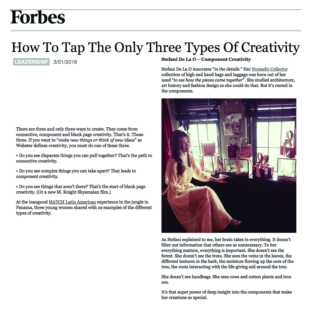 Forbes _ Three Types of Creativity _ Nomadic Collector _ Stefani De La O