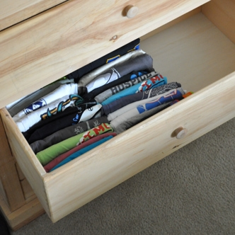 Organized t-shirt drawer