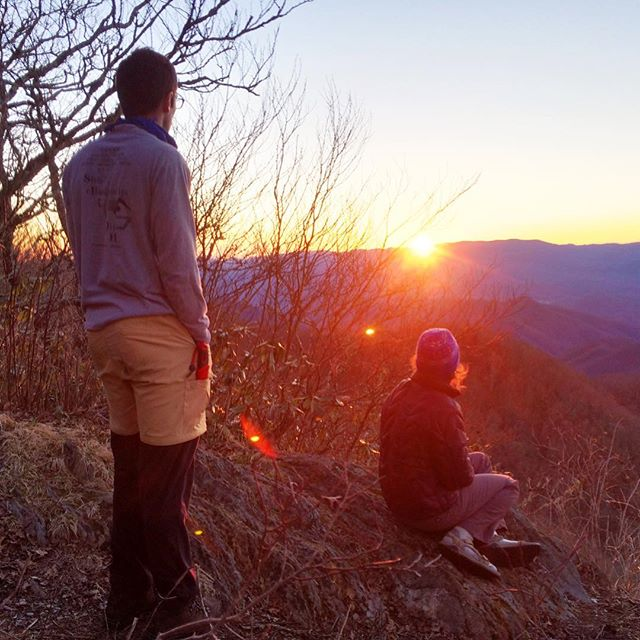 Birthday weekend backpacking: watching the sunset over the Smokies. There's nothing like standing in front of ageless mountains to make you feel young.  #20degrees #5000ftin5miles #noswitchbacks #cheoahbald #appalachiantrail #bartramtrail #optoutside