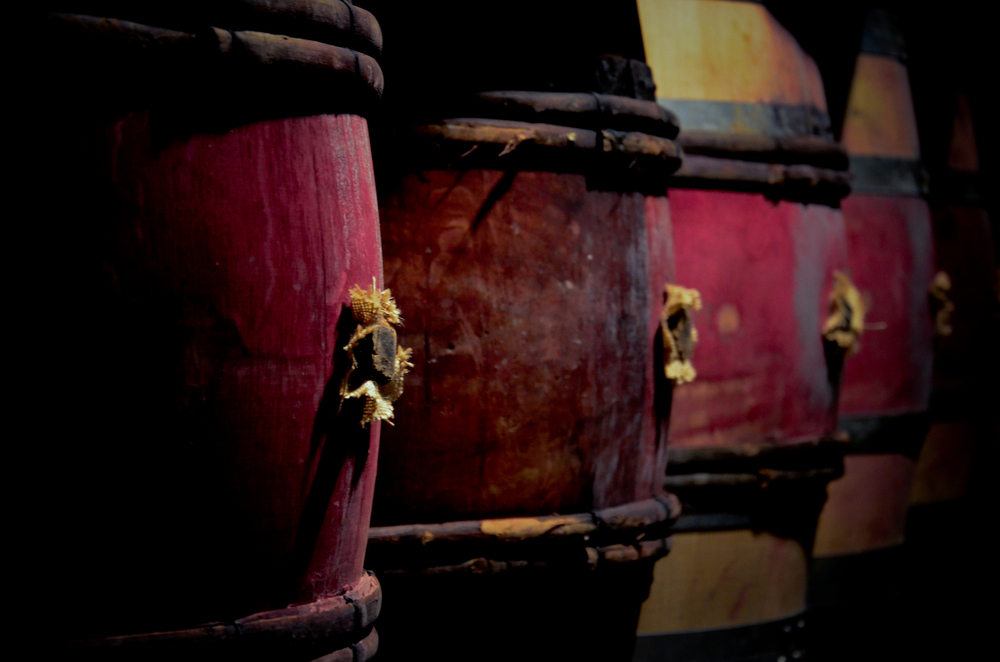 wine stained barrels in Nuits st george