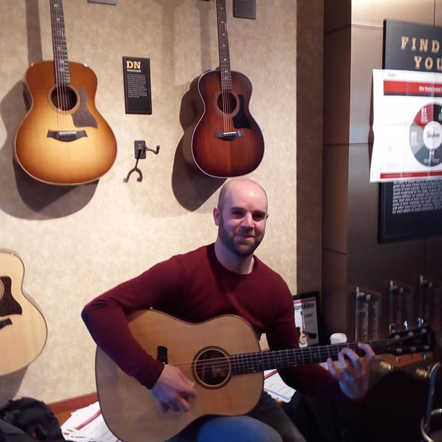 Happy out .. trying out Taylor's new Grand Pacific range in Amsterdam. . . #taylorguitars #amsterdam  #musicmaker #elixirstrings #guitarsdaily #woodandsteel