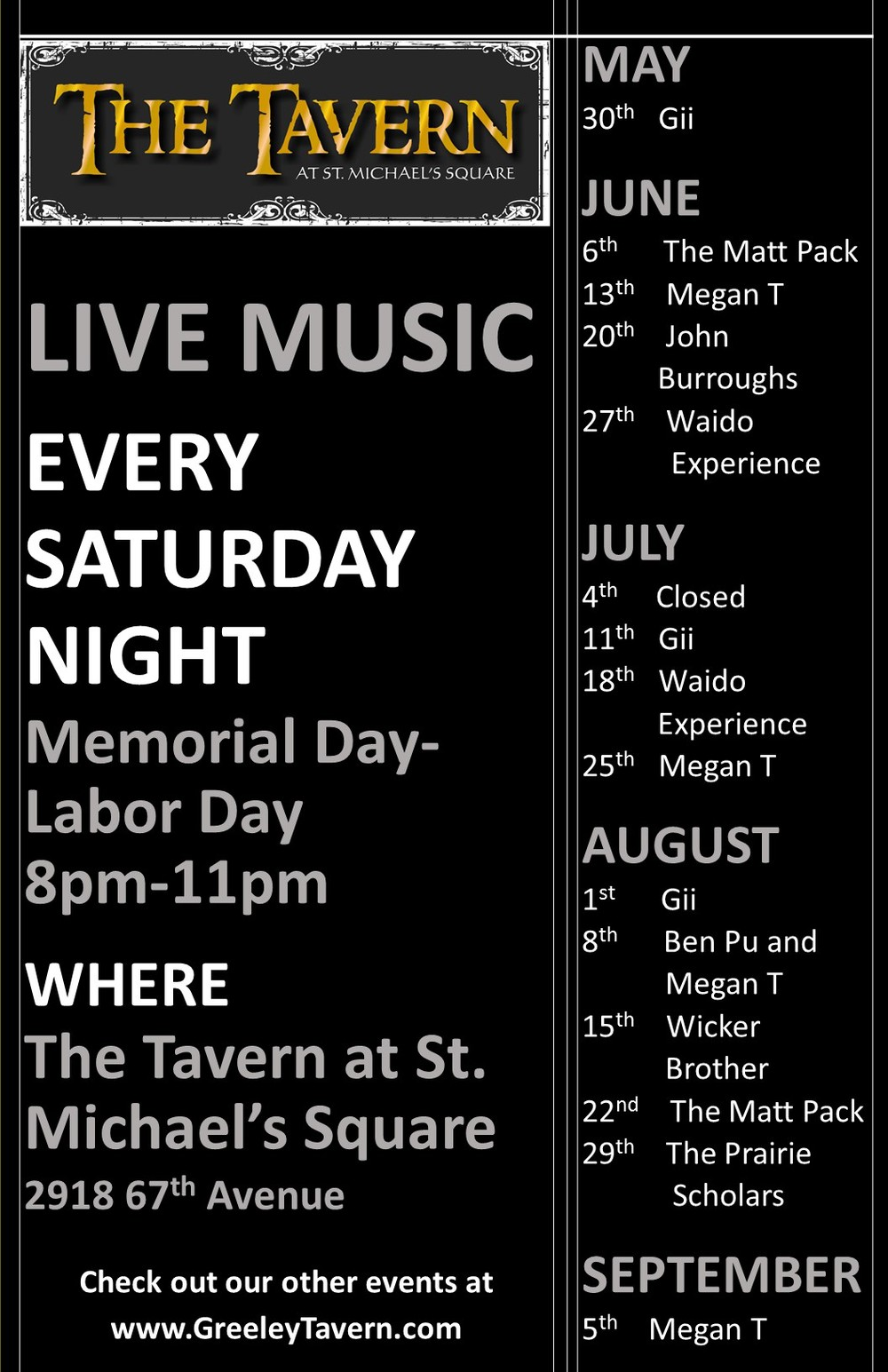 Live Music Greeley Colorado The Tavern at St Michael's Square Ben Pu, Megan T, The Matt Pack,  Guillermo Gíí Astorga, Wicker Brother, Waido Experience, The Prairie Scholars and John Burroughs