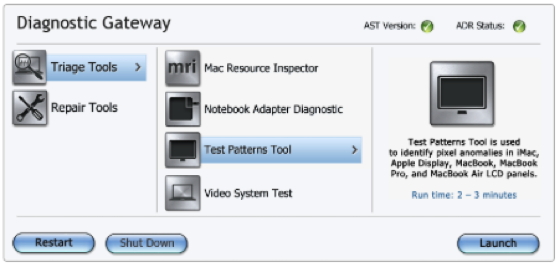 AST Diagnostic Gateway menu