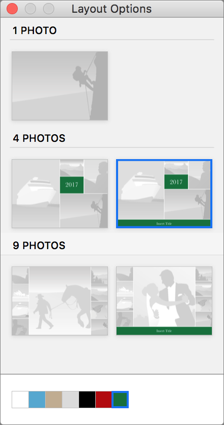 Choose layouts.  Although every card starts with a default layout, most have alternatives. Would you prefer a single image on the front, rather than a four-photo layout? Click the Options button below the card to open the Layout Options panel, and click the desired layout.