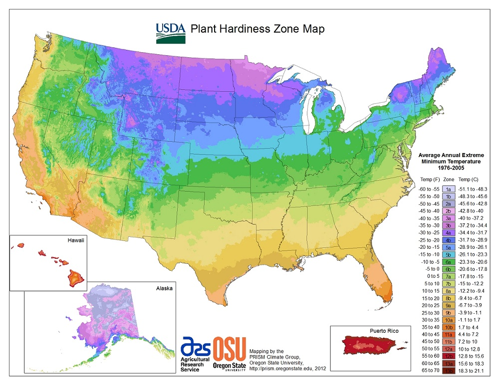 "The PHZM represents the average lowest temperature over a thirty year period and assigns a number to different ""Hardiness Zones"" around the country. Plants and seeds are marketed with corresponding zone numbers so that farmers and gardeners can determine which plants will survive their winters. Note that the data stops in 2005, so it doesn't reflect the past twelve years of global warming."
