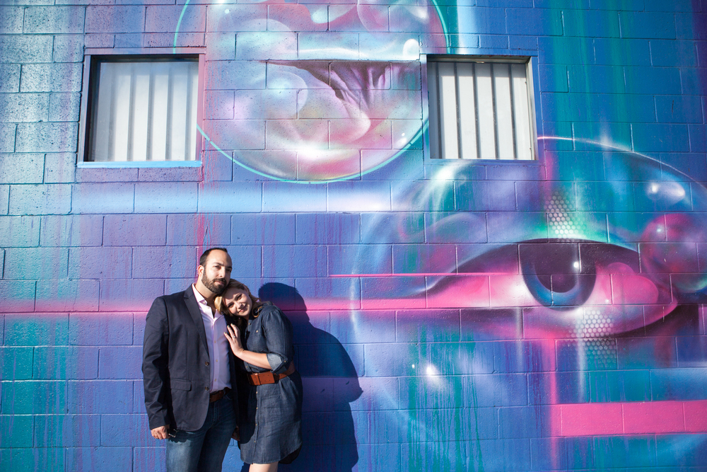 Erika + Aaron's Epically colorful engagement in Downtown LA Arts District. 3-19-2016