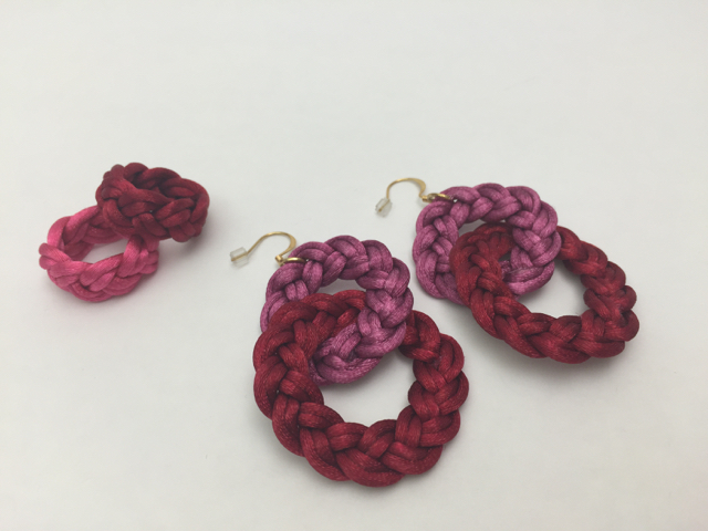 Rings and Earrings in pink and red satin cord.